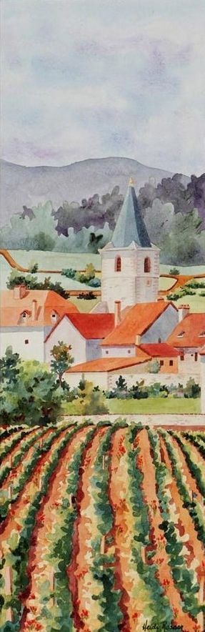 This watercolour is effective, and distinguishes itself from other watercolour pieces I have pinned, as there is a lacking of definition in the outer edges of each featured subject. It is a softer, more inviting painting.