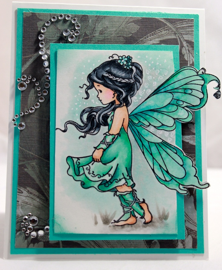 Copic card using the Whimsy - Silver Fairy stamp.  Made by Marie