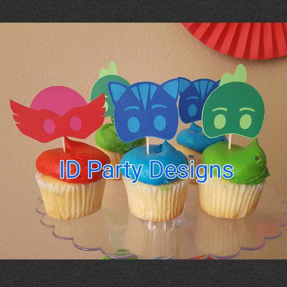 Pj masks Mask CUPxAKE Toppers Birthday Owlette Gekko Catboy  https://www.etsy.com/listing/461364578/pj-masks-cupcake-toppers-owlette-geckko