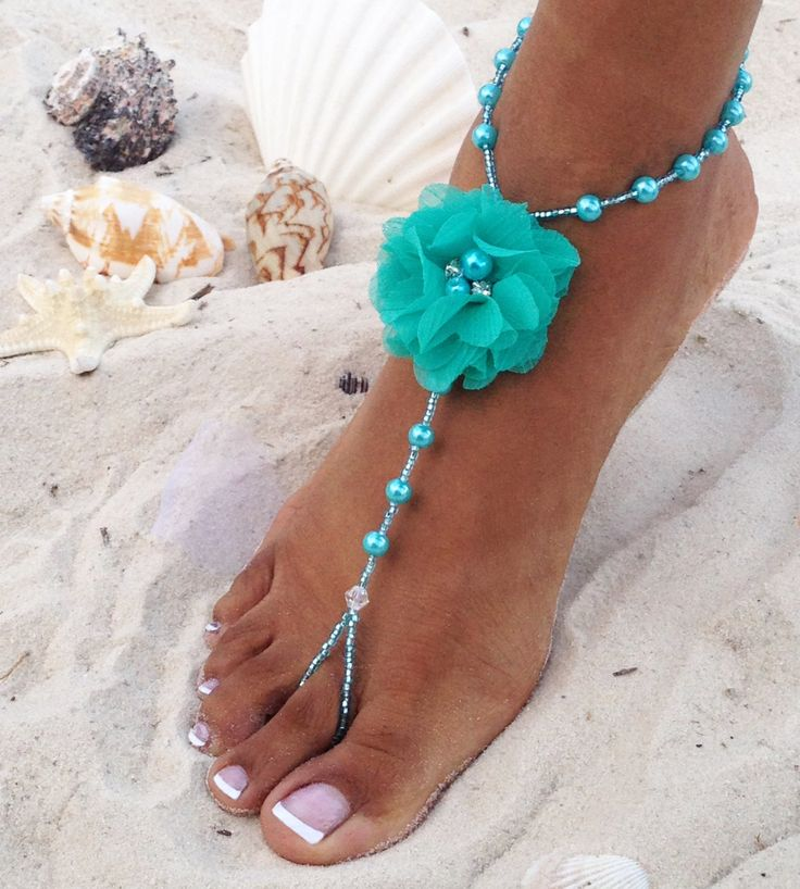 Bridesmaids Pearl Barefoot Sandals, Turquoise Barefoot Sandals, Bridal Party Barefoot Sandal, Bridesmaids Gifts, Wedding Barefoot Sandals by TheBridalBOWtique on Etsy