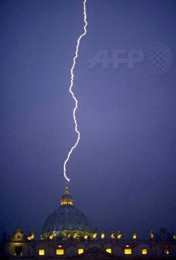Feb 11, 2013.  Pope Benedict announces resignation and lightning strikes the Vatican.