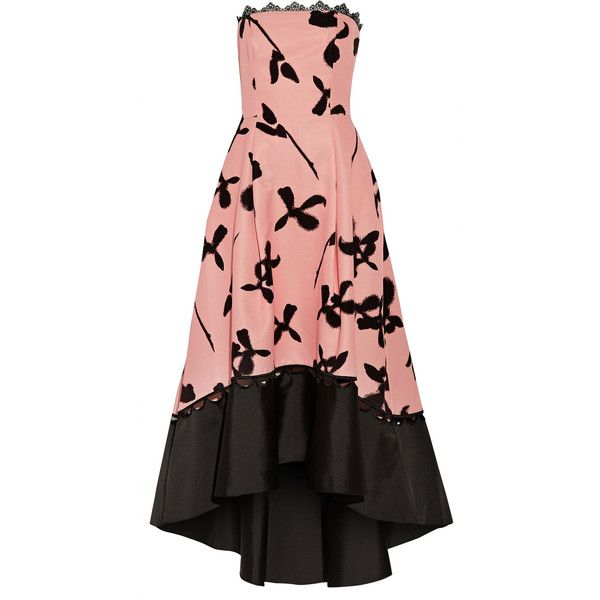 Noir Sachin & Babi - Pansey Asymmetric Pleated Floral-print... ($380) ❤ liked on Polyvore featuring dresses, gowns, baby pink, floral print evening gown, holiday party dresses, embroidered evening dress, floral evening gown and cocktail dresses