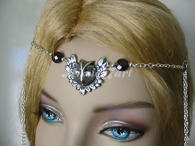 Silver plated Owl Circlet with Garnets and Diamantes $42.95