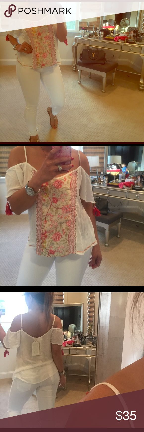 BAND OF GYPSIES COLD SHOULDER BOHO TOP Brand new with tag. Festival ready.  I'm 5'2. Band of Gypsies Tops Blouses