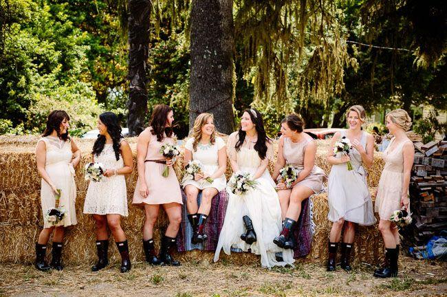 bridesmaids in Wellingtons :) fun