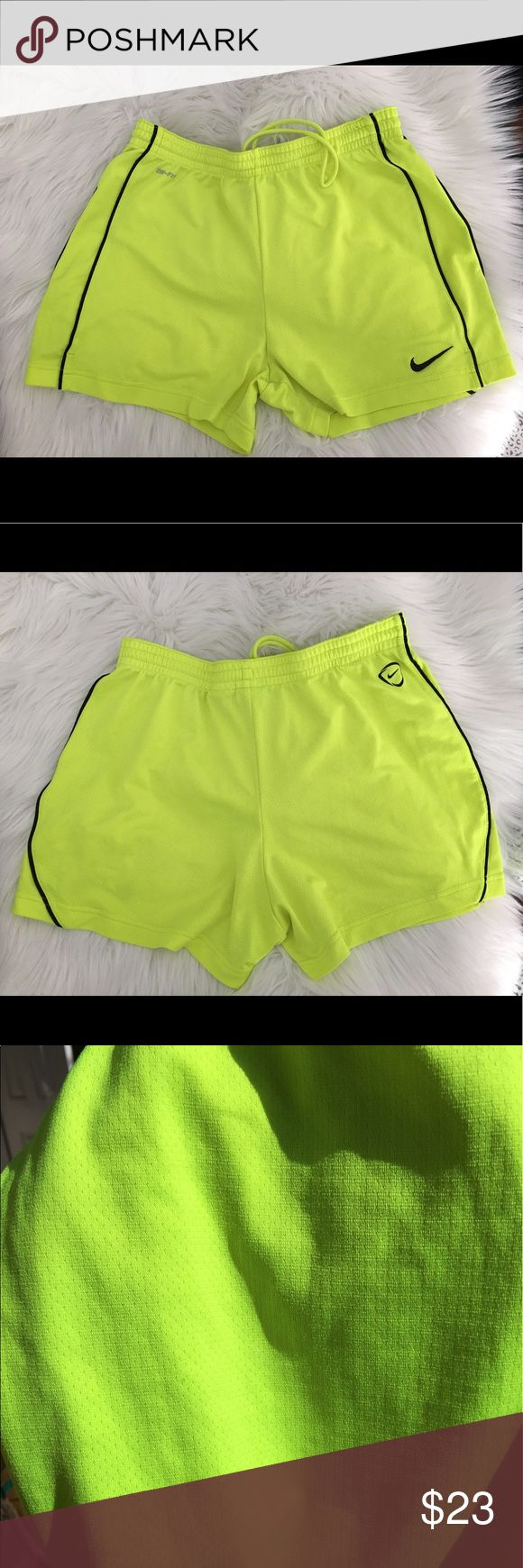 """📣Nike Dri-Fit Shorts📣 🛁Recently laundered in All Free &Clear🛁 💪🏼NIKE Dri Fit Neon Yellow shorts 💪🏼Tacky strip around inside waist for better, more long lasting wear  💪🏼Infinity drawstring so the cord doesn't """"get lost"""" inside the waist ⚠️Approx 3"""" inseam  📣From a smoke free, pet free home. No rips, stains, or tears.   📣Next day shipping from CA 🥑 if ordered by 3pm (EXCLUDING weekends and holidays)  🚫Trades 🚫Off Posh Transactions.   ✅Offers encouraged Nike Shorts"""