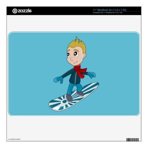 Snowboarding boy cartoon MacBook skin