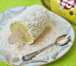 Yoghurtis med mango, lys rom og ristet kokos (4 små isdesserter) yogurt with mango icecream