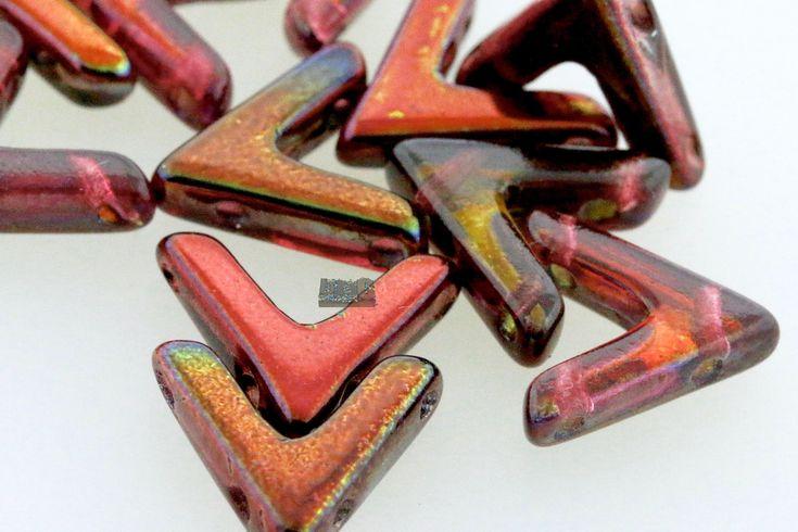 12 pcs - Czech Glass 2 hole AVA Beads - 2-hole V beads - Crystal MAGIC WINE - 10x4mm [B-97] by BeadBistroCrafts on Etsy https://www.etsy.com/listing/568091761/12-pcs-czech-glass-2-hole-ava-beads-2