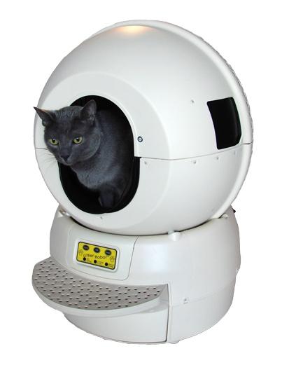 Robot litière de Litter Robot™  Ce robot est une litière autonettoyante. Grâce à lui, votre chat aura sa litière toujours propre et vous, une charge contraignante en moins. Le système de nettoyage utilisé est un tamis breveté qui filtre la litière, sept minutes après que le chat l'ai quittée, en faisant pivoter l'ensemble de la cabine, laissant tomber la litière souillée dans le bac inférieur.  350 euros  www.robootic.com