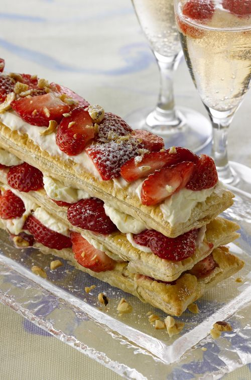 quick millefeuille with toasted hazelnuts, cointreau and strawberry mascarpone cream