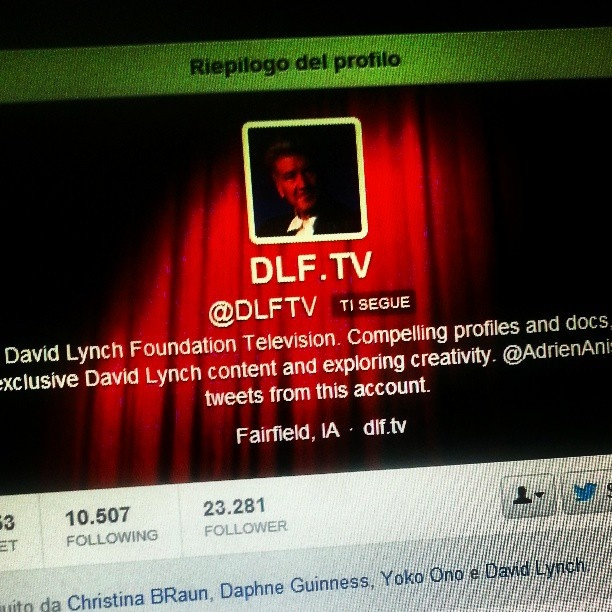 The David Lynch Foundation Television follows us on twitter