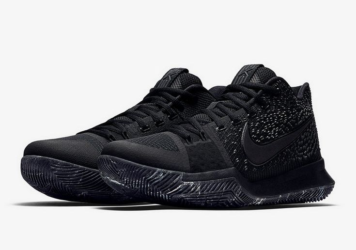 Nike Kyrie 3 New Nike Kyrie 3 Triple Black 852396-005 Black-Black Basketball Shoe For Discount With High Quality