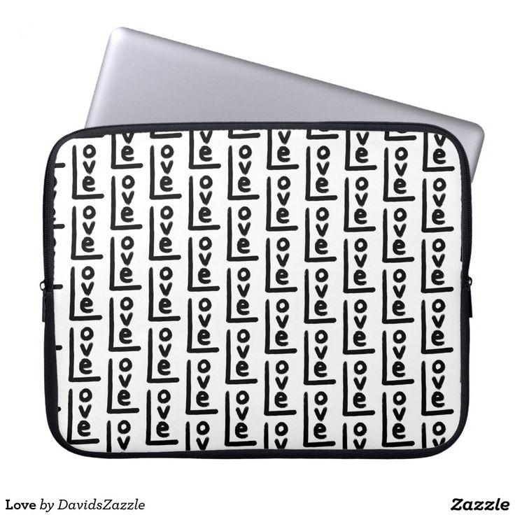 Love Laptop Sleeve  Be sure to check out all the options to meet your accessory need!  #phone #case #love #black #white #pattern #all #over #print #letter #text #language #word #emotion #feeling #relationship #boyfriend #girlfriend #friend #family #tough #slim #barely #there #apple #products #samsung #galaxy #iphone #tablet #ipad #wallet #folio #folding #sleeve #laptop #computer #macbook #air #pro #accessory #accessories #gear #life #style #lifestyle #buy #sale #zazzle