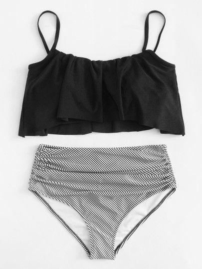 6364cf453c Shop Striped Flounce Bikini Set online. SheIn offers Striped Flounce Bikini  Set & more to fit your fashionable needs.