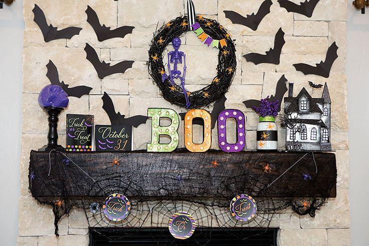 Colorful Halloween Mantel Decor   FREE Printables