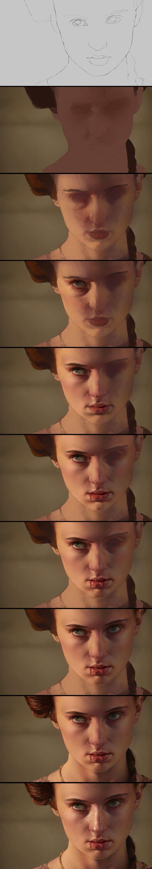 Sansa: digital painting process from http://aarongriffinart.deviantart.com - Imgur