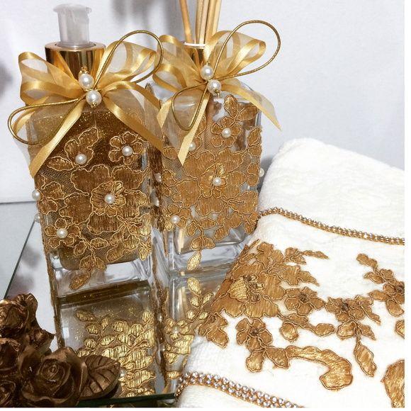 Kit renda dourado 250ml + toalha bordada
