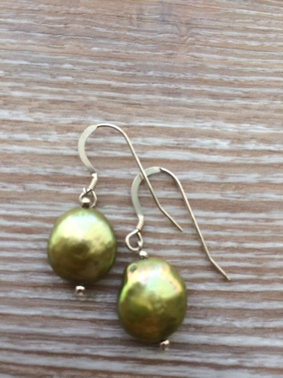 Green Fresh Water Coin Pearl and sterling silver earrings UK