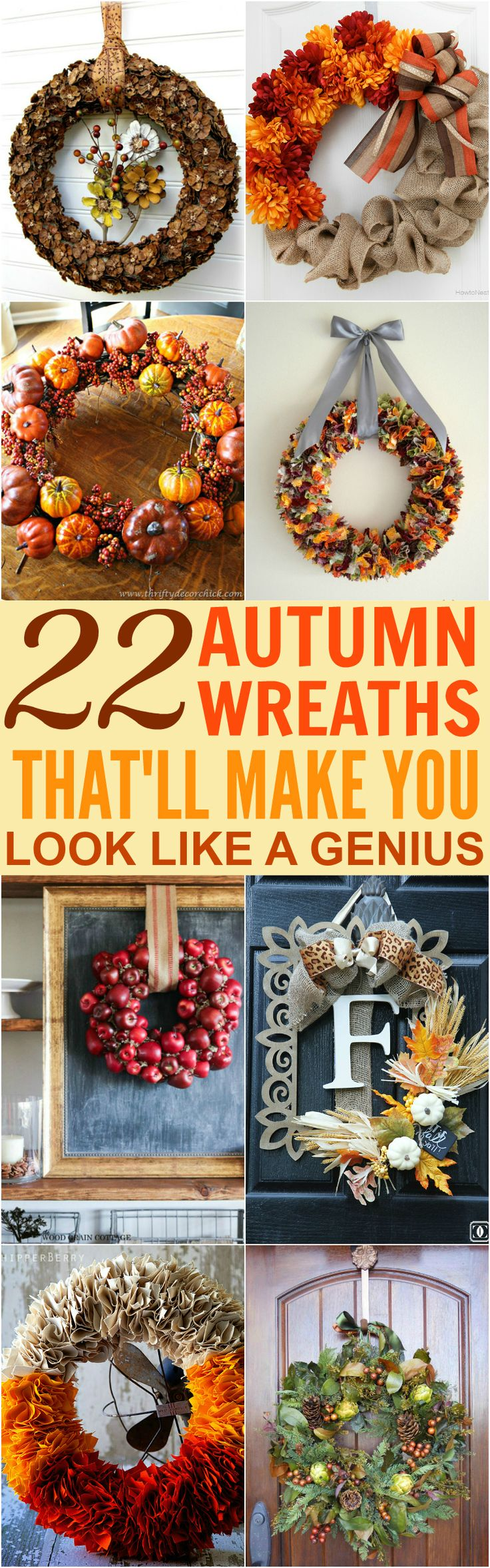 219 best Fall Wreaths \u0026 Swags images on Pinterest | Fall wreaths ...