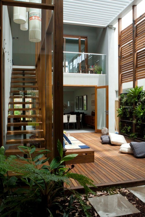 Double height, timber, stairs, deck, outdoor living