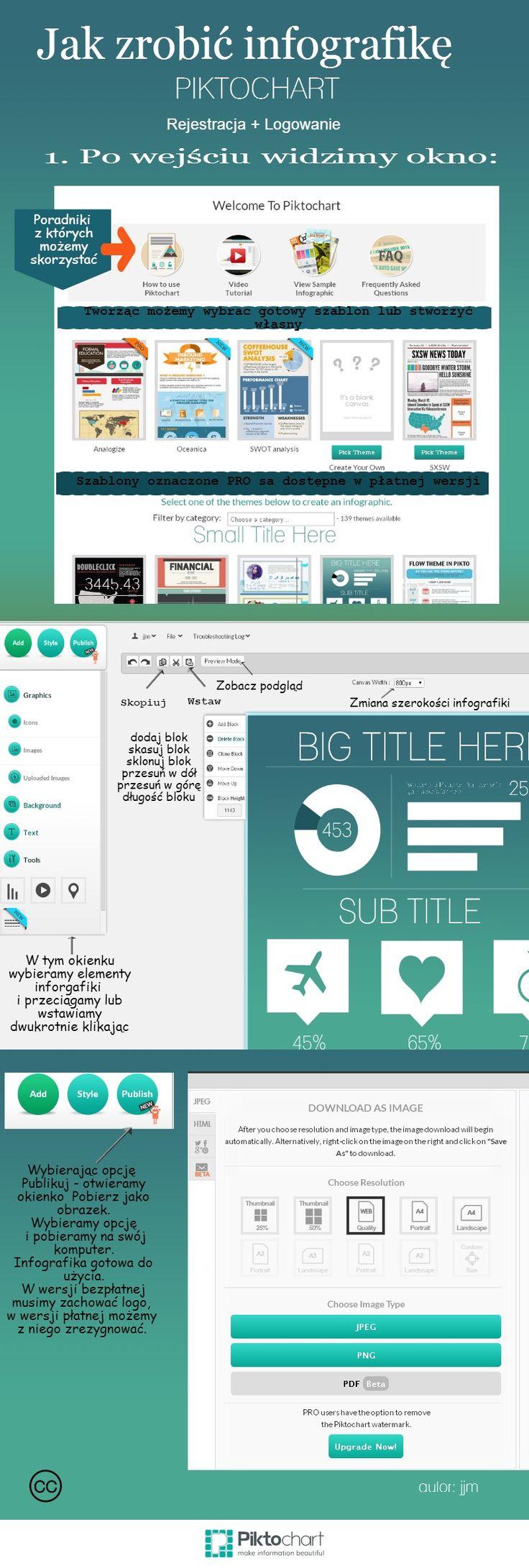 Piktochart – to program w którym on-line możemy stworzyć infografikę. Aby skorzystać należy się zarejestrować.bezpłatne konto ma ograniczenia,ale można stworzyć w nim ciekawą infografikę. Wykorzystałam go, aby przygotować w graficzny sposób instrukcję korzystania. Ma ona pomóc uczniom realizującym projekt Web Questa.