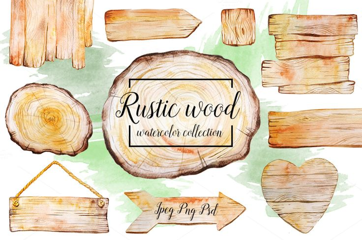 Rustic watercolor wood collection by beauty drops on @creativemarket