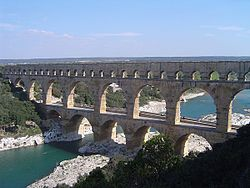 Ancient Rome - Pont du Gard in France is a Roman aqueduct built in c. 19 BC. It is a World Heritage Site.
