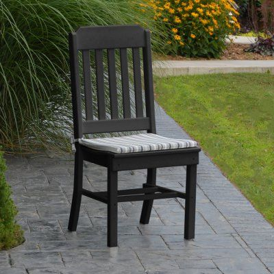 A & L Furniture Poly Traditional Outdoor Dining Side Chair - 4101-BL BLACK