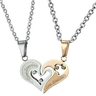 "Stainless Steel Diamond Accent His ""Love Devotion"" Heart Necklaces,18"" and 20""-sn3225 Color-jewels. $18.86. Ladies:44cm. White:25cm. Men's:50cm. Gold:27cm"