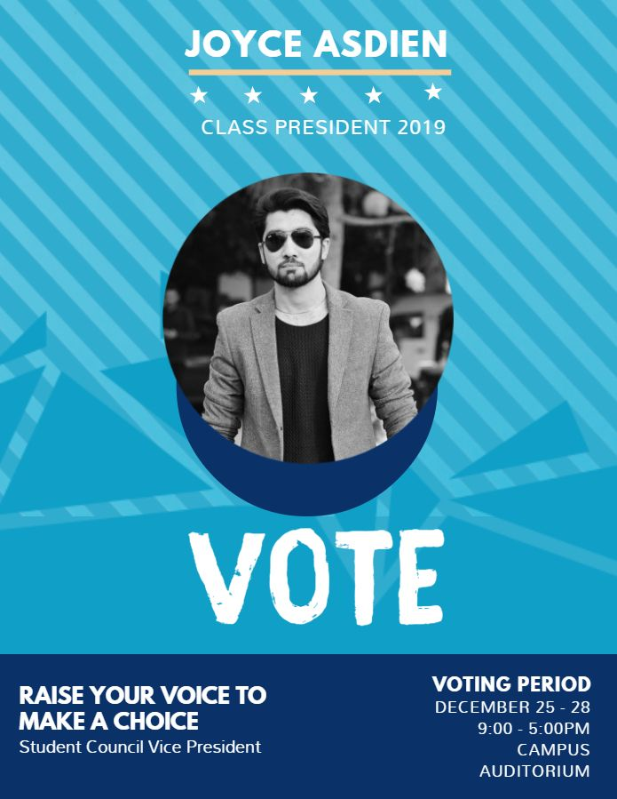 College Student Council Election Poster Template Cyan
