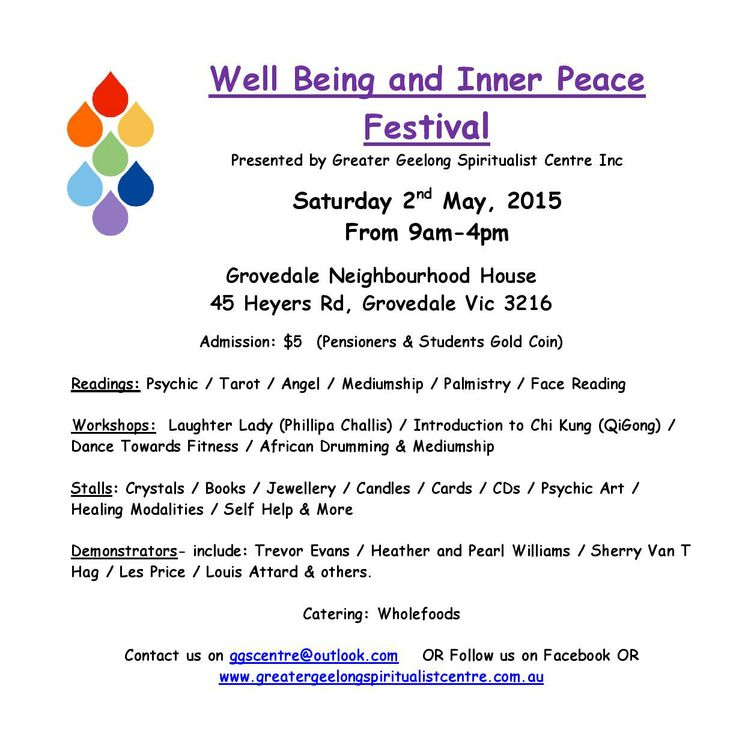 Looking forward to seeing everyone at the Well Being and Inner Peace Festival on Saturday 2nd May, 2016 #trinature #geelong #wellbeing #innerpeace