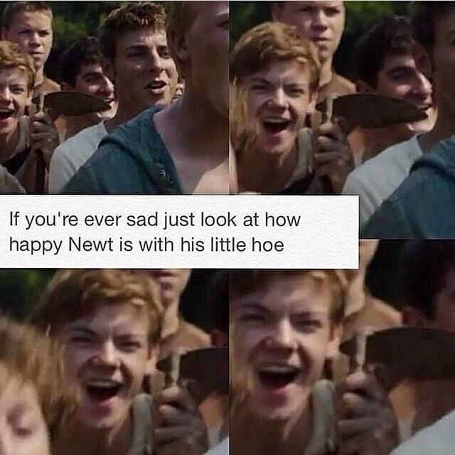 That's the part when Thomas is running through the maze sometimes peoples sad or upset faces are similar to smile if happy faces