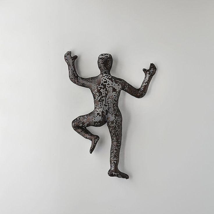 Contemporary metal wall art, Climbing man sculpture, wire mesh sculpture, wall hanging, rock climbing. This unique sculpture of climbing man is one of a kind and made of steel wire mesh. The climbing man is completely hollow, therefore it is very light. There is no use of internal mold or construction. It is covered with material (Paverpol) that gives the sculpture is strength so it is not easy to bend. This piece can be placed inside or out. It is very easy to clean. Just put it under…