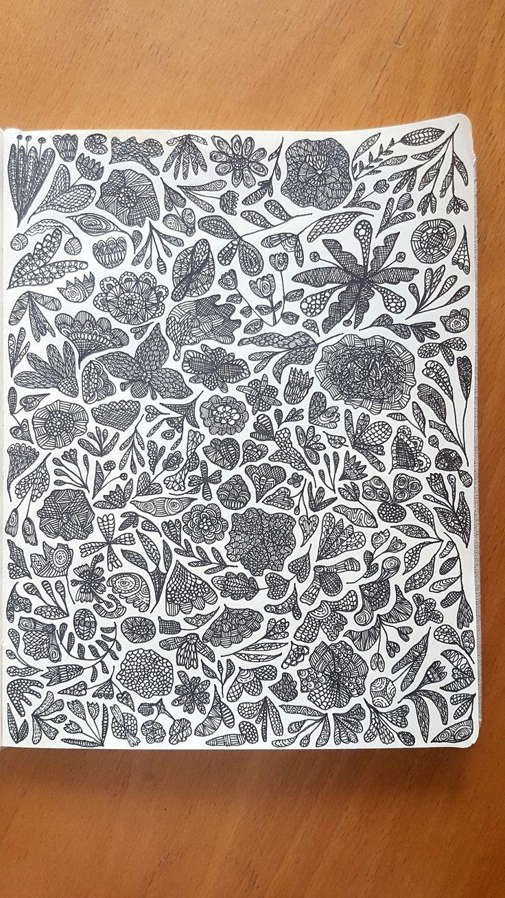 #sketch #sketchbook #drawing #illustration #doodle #flowers #pattern #patterndesign