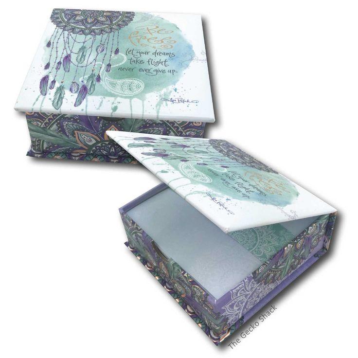 The Gecko Shack - Let Your Dreams take Flight - Mandala Dreamcatcher Loose Leaf Memo Paper Box with Rose Gold Foiling, $13.95 (http://www.geckoshack.com.au/let-your-dreams-take-flight-mandala-dreamcatcher-loose-leaf-memo-paper-box-with-rose-gold-foiling/)