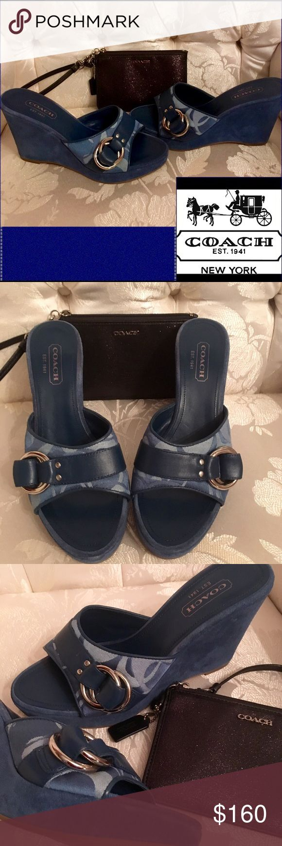 🆕Coach💙Meredith💙Blue Suede💙Logo Wedges💙A0130 Well,it's one for the money💙Two for the show Three to get ready Now go,cat,go But dont you Step on my Blue Suede Shoes You can do anything But stay off of my Blue Suede Shoes Well,you can knock me down Step in my face Slander My name All over the place Do anything that you want to do💙But uh uh,Honey💙Lay off of My Shoes☺️PeepToe Wedges💙4 in💙heel wrapped in suede leather💙Trimmed in Coach BlueLeather 💙Signature logo print 1in…