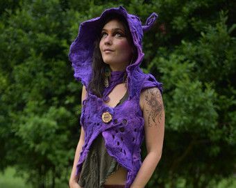 Nuno Felted Melted Witch Of The Craziest Creatures Silk Chiffon Pointed Silk Gown Big Bow and Pixie Pointed Curled  Hood And Necklace OOAK