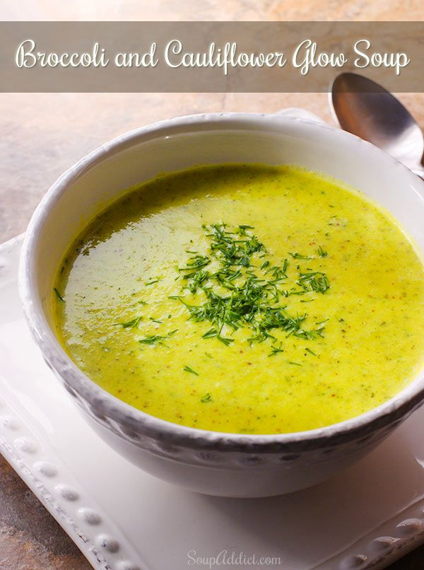This Broccoli and Cauliflower Glow Soup Recipe is packed full of flavor from the warm vegetable broth, garlic, onions, coconut milk and other ingredients!