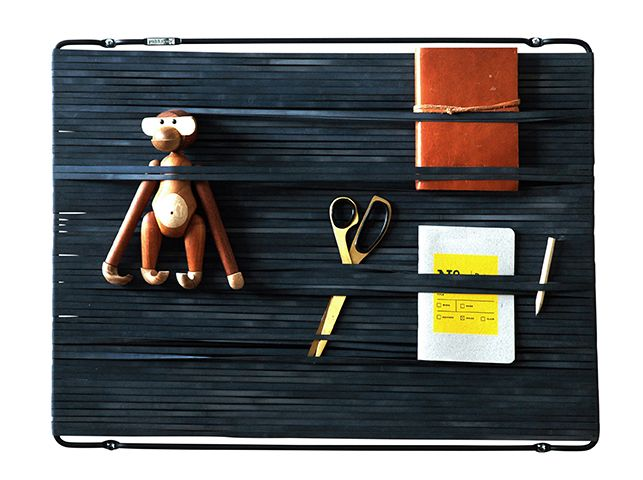 MULTI-FLEX. Interior Organiser. Metal frame with rubber band. Design; Remco van der Leij. Matt-black
