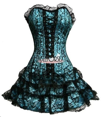 Black Blue Rose Gothic Victorian Corset Dress