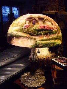 Thomas-Kinkade-Lamp-Reverse-Painted-Stepping-Stone-Cottage