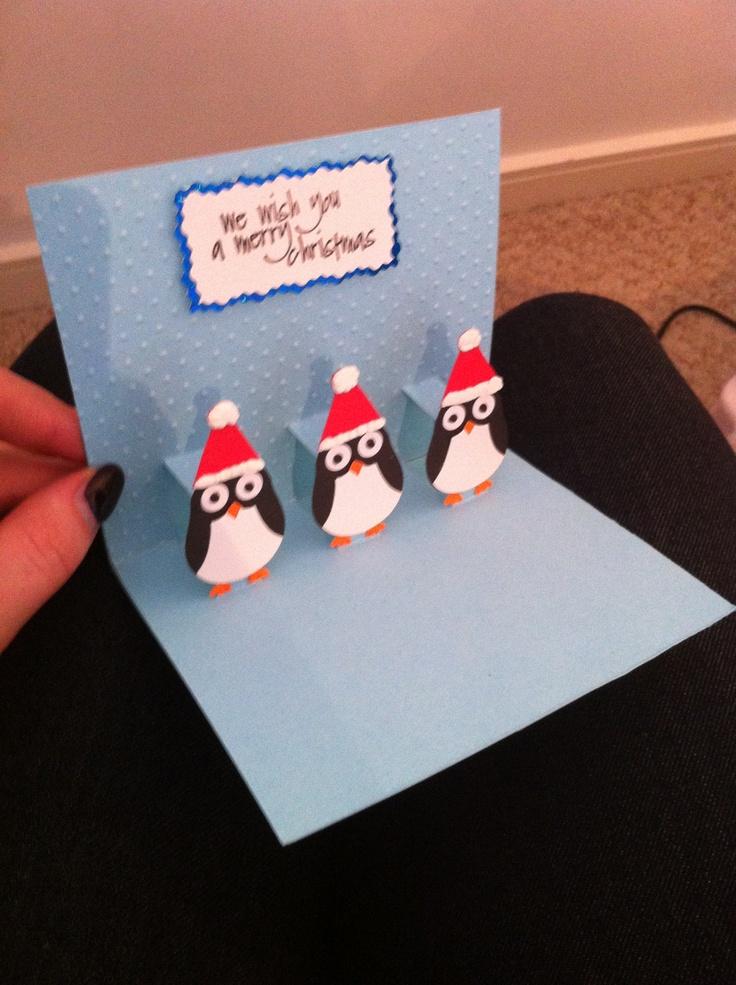 pop up penguin card  inside