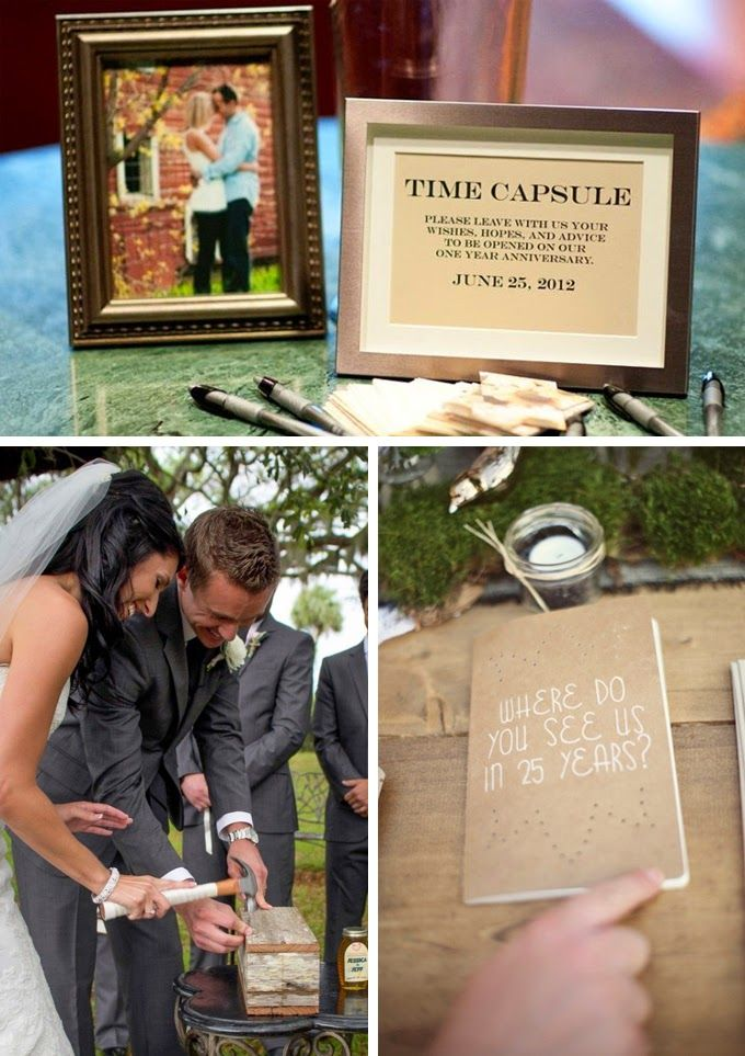 time capsule containing love letters to each other and guest letters. Maybe with a bottle of fancy wine :)