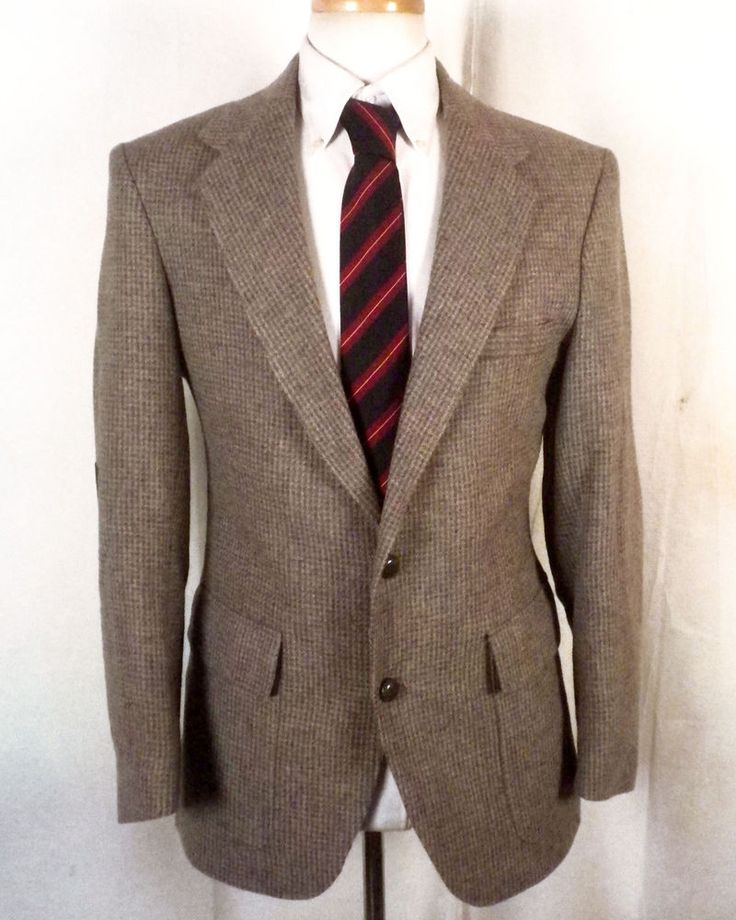 euc Farah vtg Gray Barleycorn 100% Wool Tweed Blazer Sportcoat suede pads 40 R #Farah #TwoButton