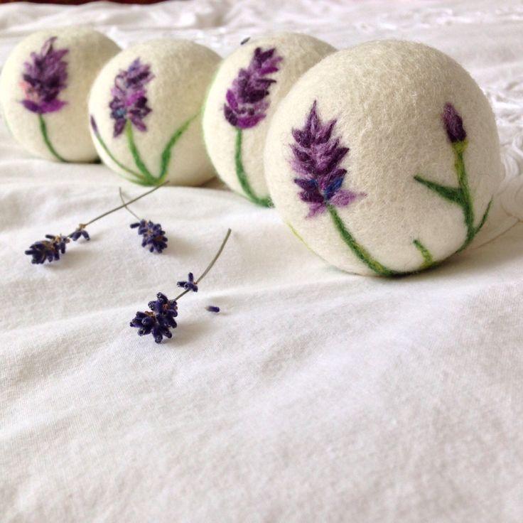 Wool Dryer balls set (3 Wool Balls) in Felted Lavender design by MyLavenderSoul on Etsy https://www.etsy.com/listing/262397362/wool-dryer-balls-set-3-wool-balls-in