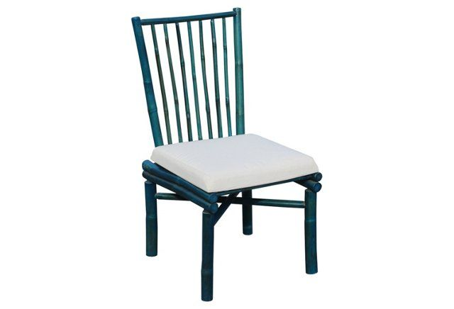 Bamboo Outdoor Dining Chair, Turquoise