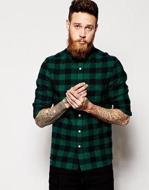 ASOS , Chemise manches longues en tissu brossé à carreaux style bûcheron