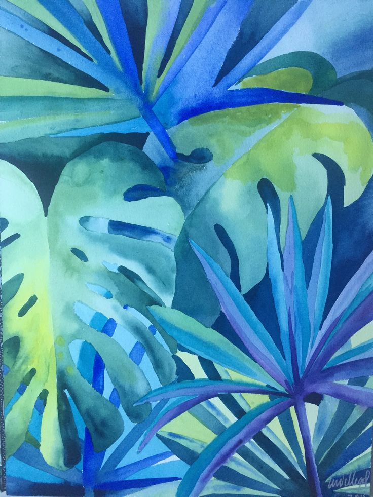 Art Watercolor tropical rain forest vegetation nature en