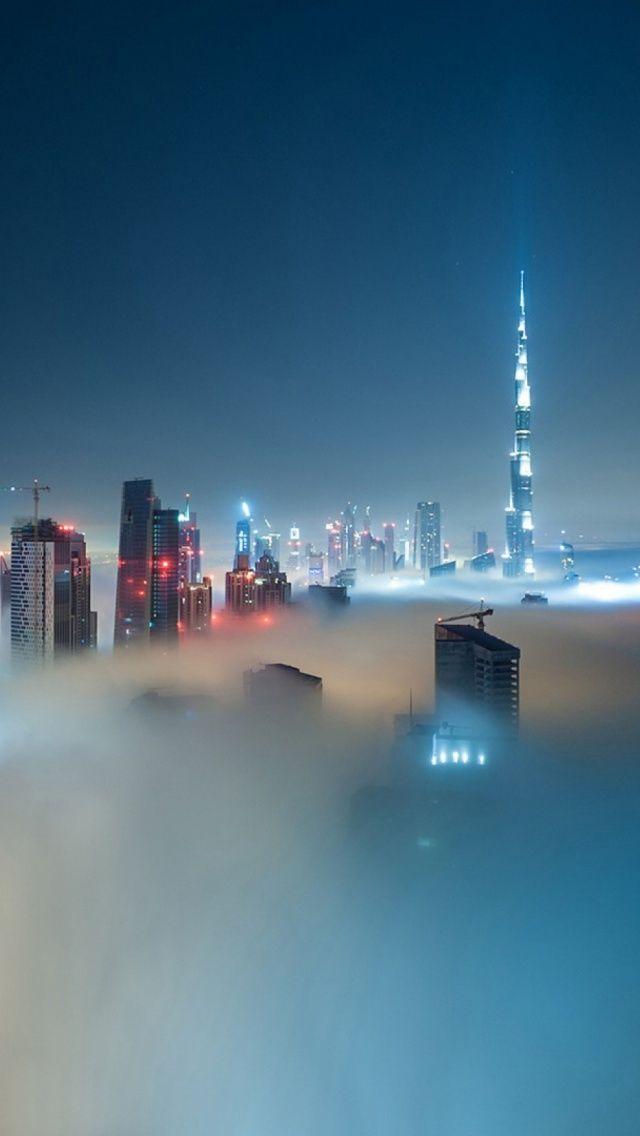 Dubai Skyline Covered In Fog Iphone 5 Wallpaper Iphone